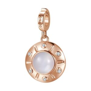 charm rosato gioielli argento rosa ufo navicella spaziale disco terrestre pietra di luna zirconi