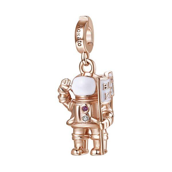 charm astronauta rosato gioielli argento rosa smalto viola traguardo spazio