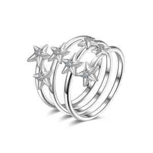 anello rosato gioielli storie stelle zirconi bianchi argento rodio