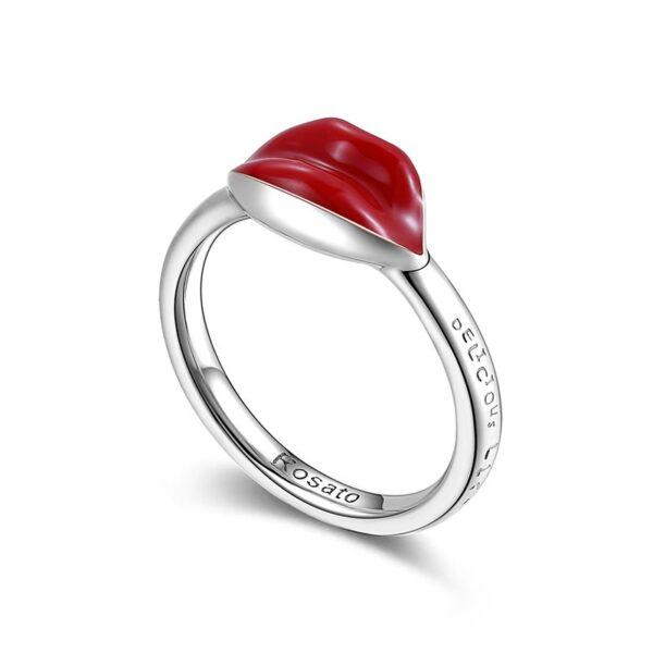 anello rosato gioielli storie argento rodio bocca labbra rosse smalto