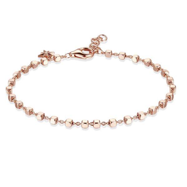 bracciale rosato storie argento rosa cubetti pendente stella