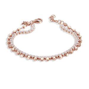 bracciale rosato storie argento rosa rosegold doppio tennis zirconi cubetti