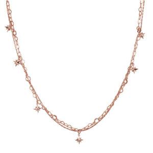 collana doppia rosato storie componibile argento rosa stelle pendenti