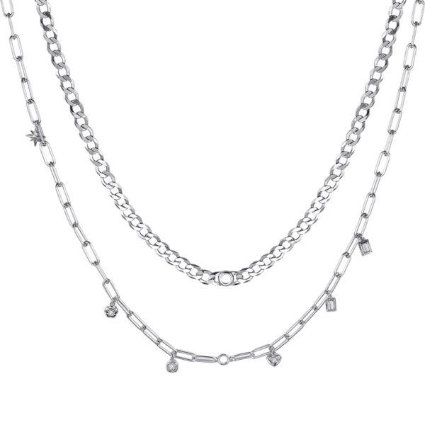 collana componibile doppia rosato storie argento rodio pendenti charms zirconi bianchi