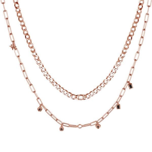 collana componibile doppia rosato storie argento rosa pendenti charms zirconi neri