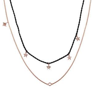 collana doppia rosato storie cordino seta nero pendenti stelle zirconi argento rosa
