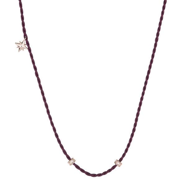 collana rosato storie cordino seta viola bordeaux inserti argento rosa zirconi stella pendente