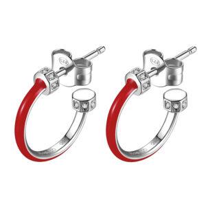orecchini rosato storie anelle argento rodio smalto rosso zirconi