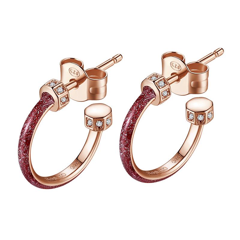 orecchini rosato storie anelle argento rosa smalto rosso glitter zirconi