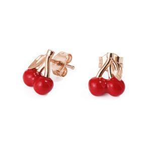 orecchini lobo rosato storie argento rosa ciliegie smalto rosso tentazione