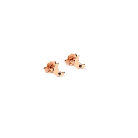 orecchini lobo jack&co argento lune oro rosa zircone nero