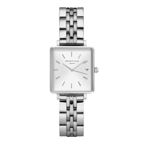 orologio rosefield the boxy mini acciaio quadrante rettangolare argento