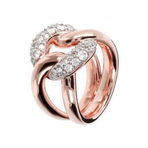 anello catena bronzallure rosa zirconi