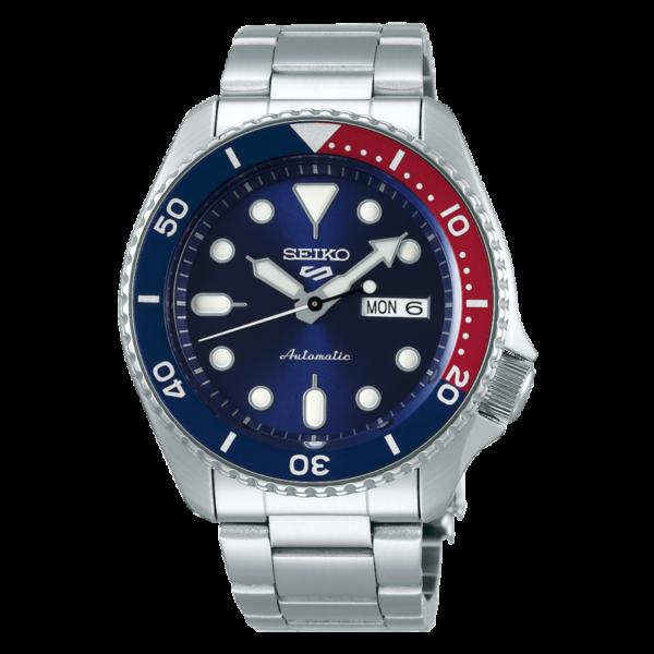 orologio automatico seiko tipo rolex submariner blu e rosso