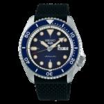 orologio da uomo con cinturino gomma automatico blu