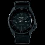 orologio acciaio nero seiko con cinturino stoffa nero