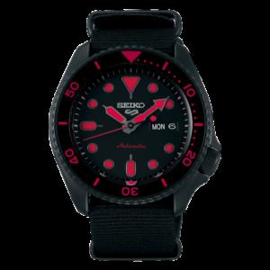 orologio acciaio nero seiko con numeri rosso