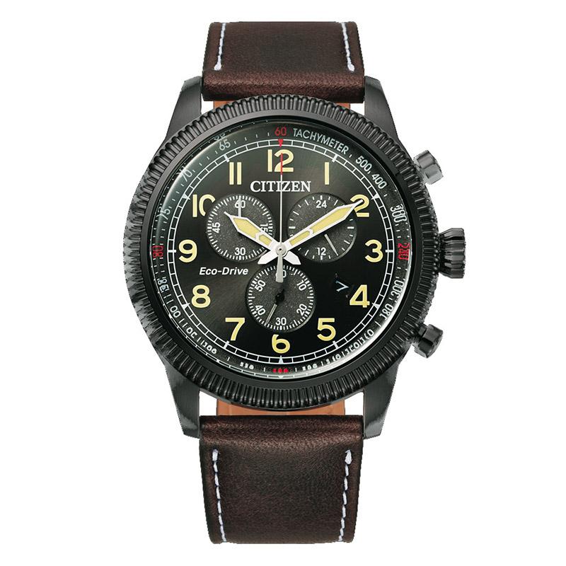 orologio citizen uomo acciaio nero quadrante nero crono cinturino pelle marrone