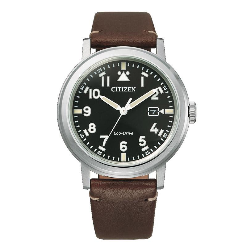 orologio citizen uomo quadrante nero cinturino pelle marrone