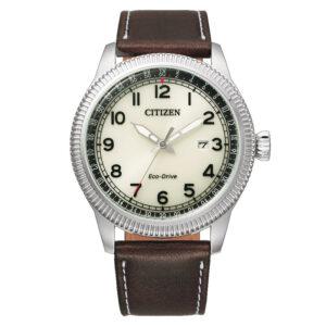 orologio citizen uomo quadrante bianco cinturino pelle marrone