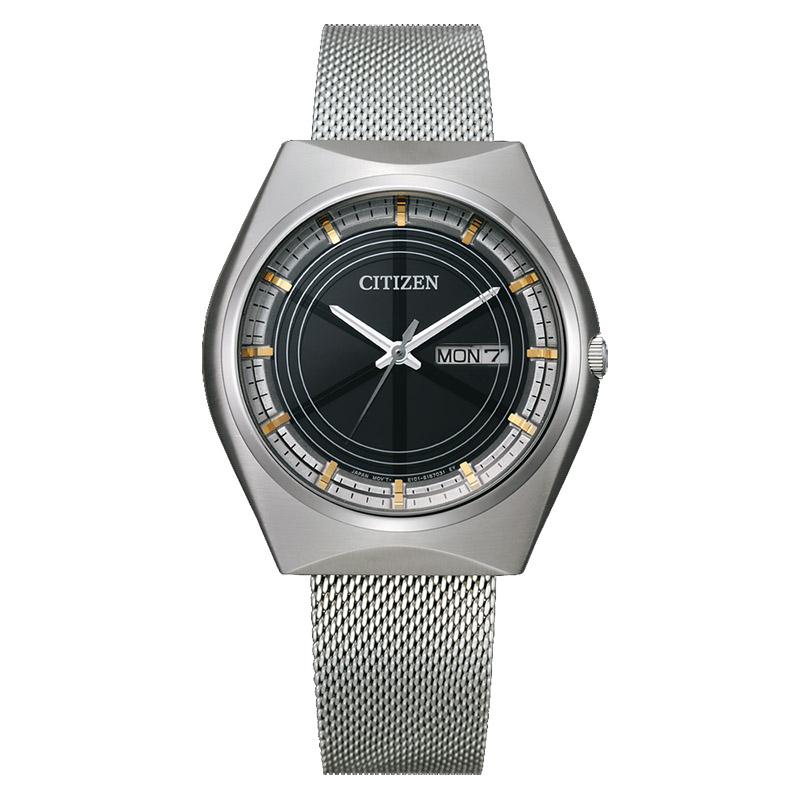 orologio crystron citizen maglia milano acciaio quadrante nero