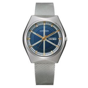 orologio crystron citizen maglia milano acciaio quadrante blu