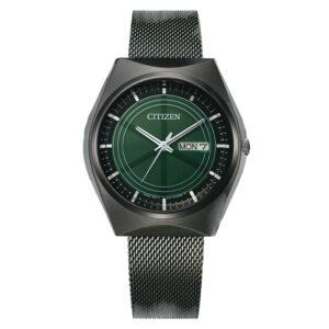 orologio crystron citizen maglia milano acciaio nero quadrante verde
