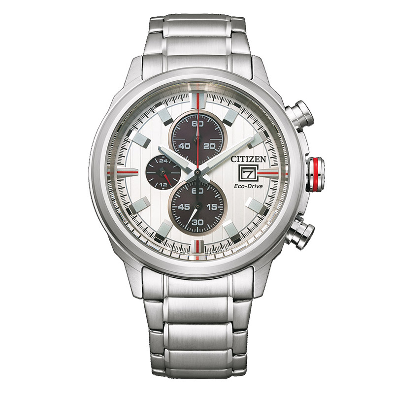 orologio citizen uomo crono quadrante bianco silver