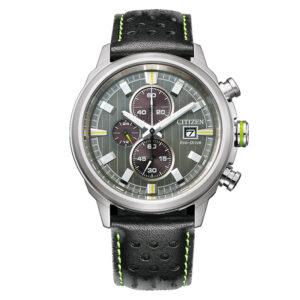 orologio citizen uomo crono quadrante antracite cinturino pelle nero lime
