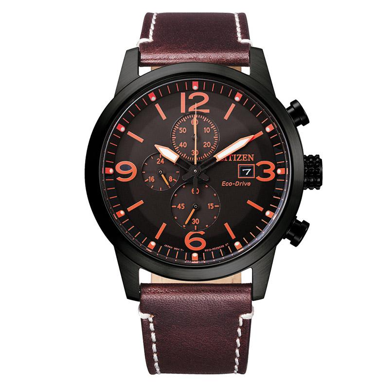 orologio acciaio nero quadrante nero cinturino marrone crono