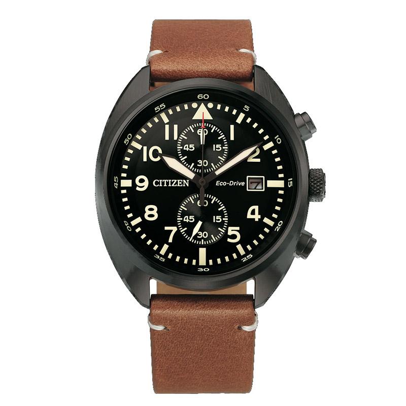 orologio citizen acciaio nero crono quadrante nero cinturino pelle marrone