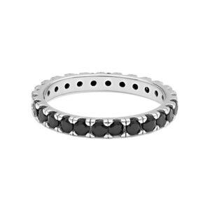 anello comete uomo argento zirconi neri tennis