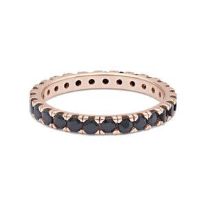 anello comete uomo argento rosato zirconi neri tennis