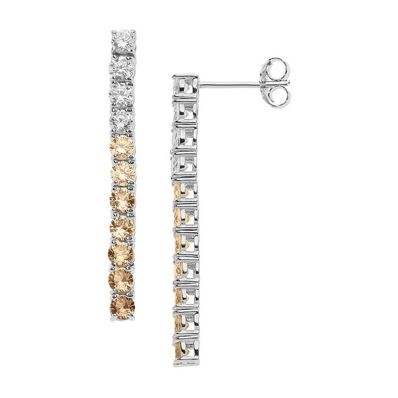 orecchini pendenti argento tennis zirconi bianchi degradè champagne