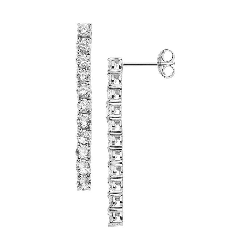 orecchini pendenti argento tennis zirconi bianchi