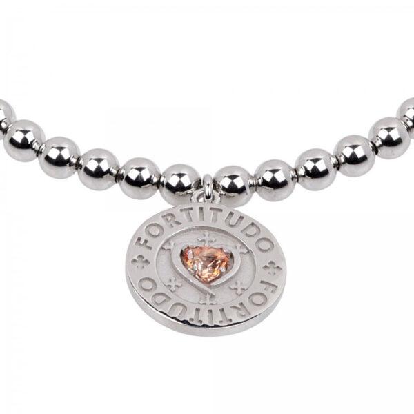bracciale palline cuore pendente argento
