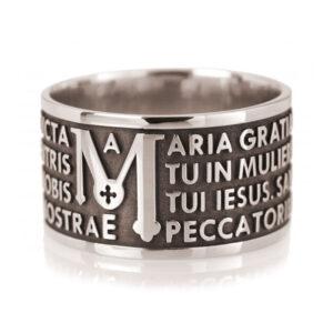 anello fascia preghiera ave maria latino argento nero