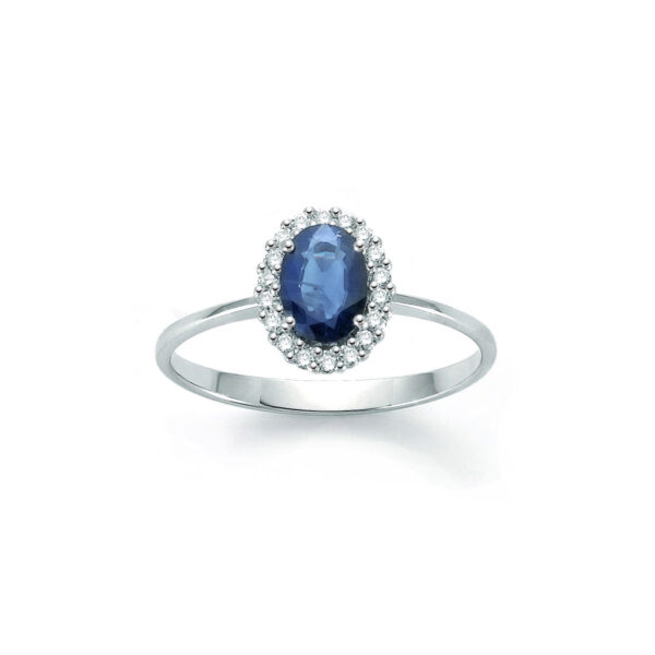 anello oro bianco zaffiro blu ovale diamanti