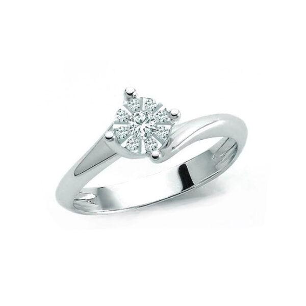 anello miluna solitario composto diamanti