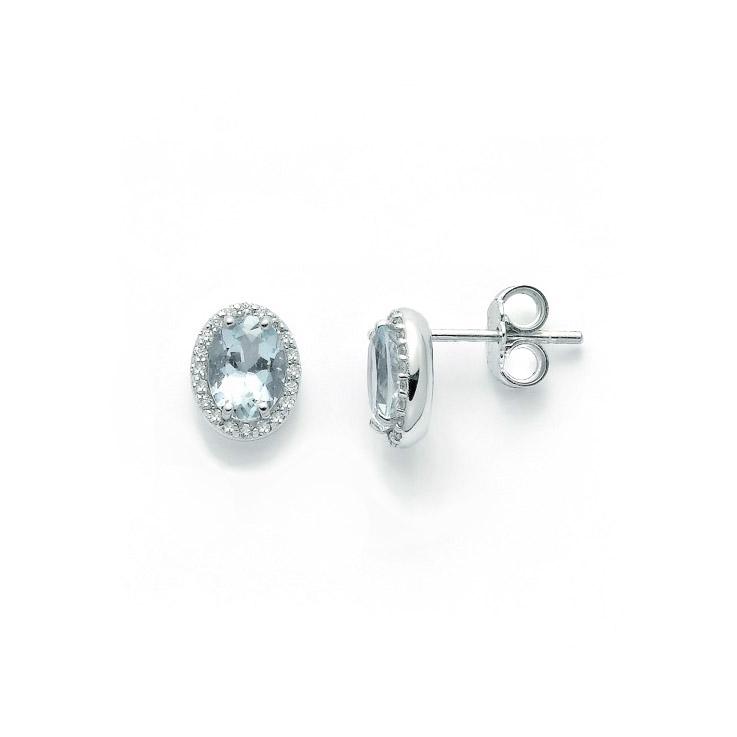 orecchini miluna diamanti acquamarina