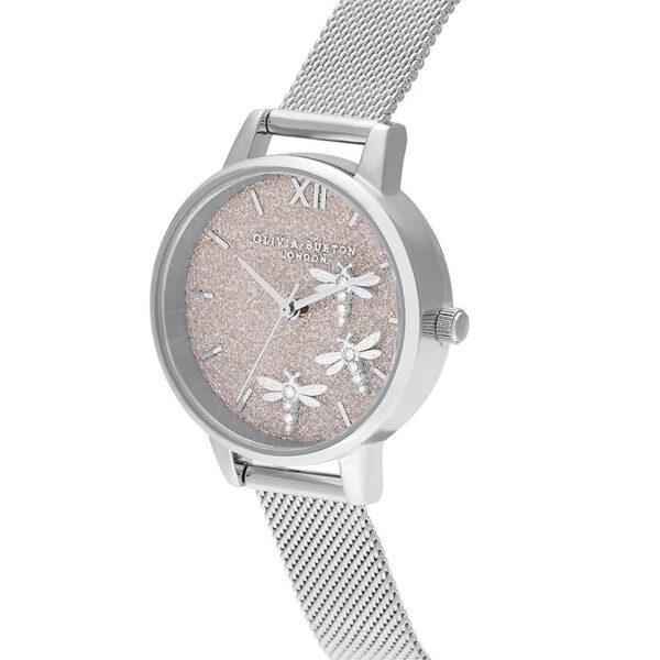 orologio donna minimal con quadrante glitter bianco