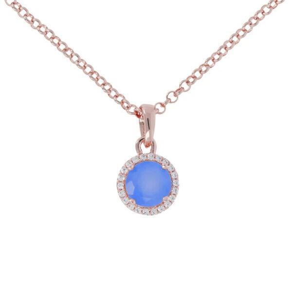 collana bronzallure calcedonio blu zirconi