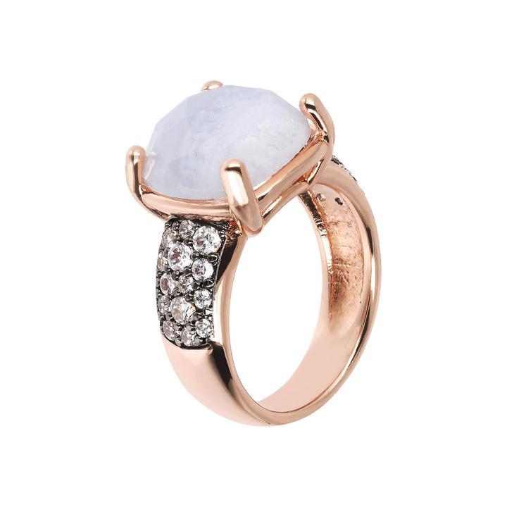 anello bronzallure oro rosa agata striata cabochon zirconi lilla azzurra