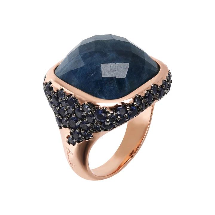 anello bronzallure oro rosa apatite cabochon pavè blu