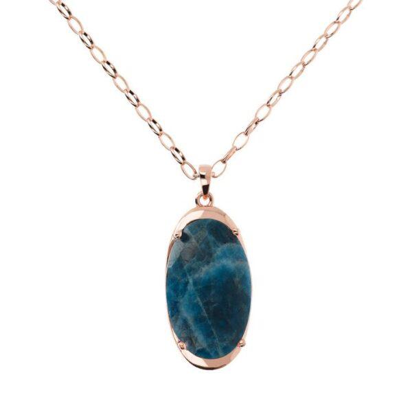 collana bronzallure oro rosa apatite blu pendente