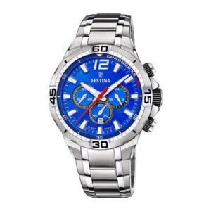 orologio festina uomo crono acciaio sport quadrante blu