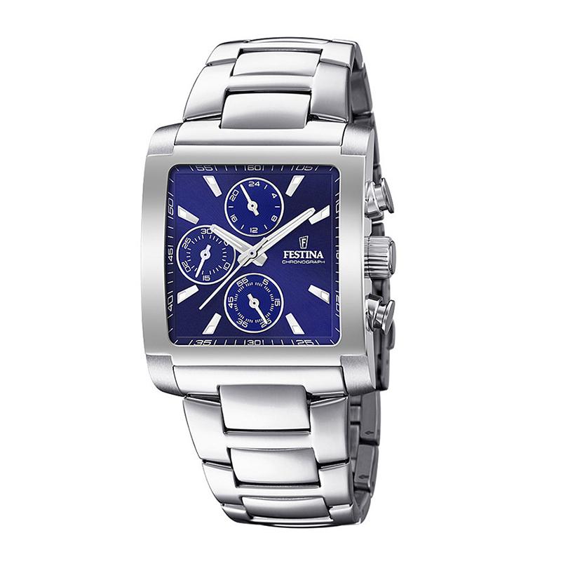 orologio festina uomo crono acciaio rettangolare quadrante blu