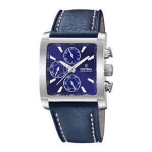 orologio festina uomo crono acciaio rettangolare quadrante blu pelle blu
