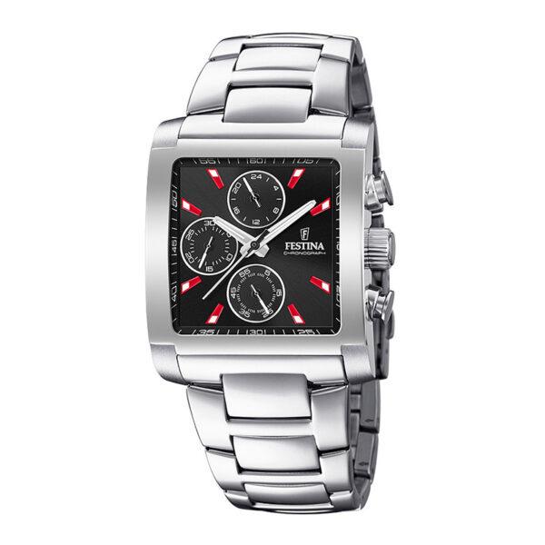 orologio festina crono acciaio rettangolare quadrante nero rosso
