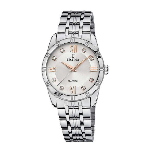 orologio festina acciaio quadrante argento rosa zirconi